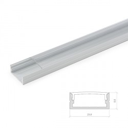 Perfíl de Aluminio para Tira de LEDs Doble - Difusor Opal - Tira de 2 Metros