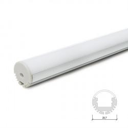 Perfíl de Aluminio para LEDS Suspendible - Difusor Opal -Tira de 2 Metros