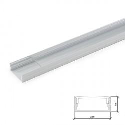 Perfíl de Aluminio para Tira de LEDs Doble - Difusor Transparente - Tira de 2 Metros