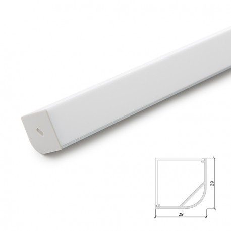 Perfíl de Aluminio Cuadrado para Tira de LEDs Difusor Opal 2 Metros (copy) (copy)