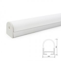 Curved Aluminium Profile for LED Strips Surface Mounted or Hanging - Opal Diffuser - 2-Metre Strip
