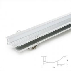 Perfíl de Aluminio para LEDS Instalación en Escaleras - Difusor Opal -Tira de 1 Metro