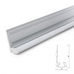 Perfíl de Aluminio para LEDS Iluminación Escaleras  con Difusor Opal - Tira de 1 Metro