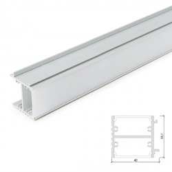 Aluminium LED Profile for Mirrors and Pictures with Opal Diffuser - 1-Metre Strip