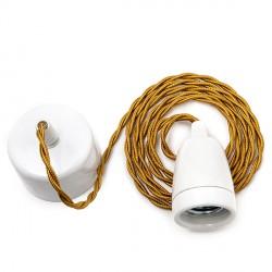 Porcelain E27 Lampholder with 1800mmr Whisky colour cable  2 x 0,75 White Resette