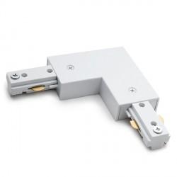 Conector 90º para Carril Trifásico Focos de LEDs Color Blanco