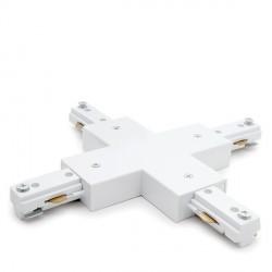 Conector X para Carril Trifásico Focos de LEDs Color Blanco