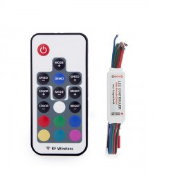 Mini RF Controller for RGB LED Strips with Remote  5-24VDC to 144W