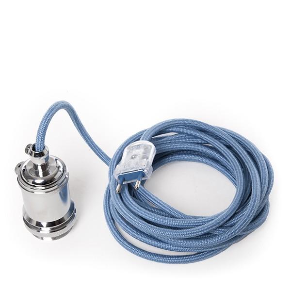Pendel e27 con cable 5000mm azul celeste 3 x 0 75 - Enchufe y interruptor ...