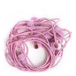 Pink Light String 11 x E27 IP44 12,5 Metres