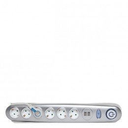 Regleta   con   6 X   Toma Corriente  + Interruptor  Luminoso  +  2 X  USB  Cargador  2100 Ma   5V - IP20 - Blanco/Plata