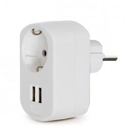 Adaptador + 1 X Toma Corriente  + 2 X USB Cargador - IP20 - Blanco