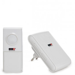Wireless Bell Kit with 1 IP55 Pushbutton, Distance 150M, 36 Melodies - White