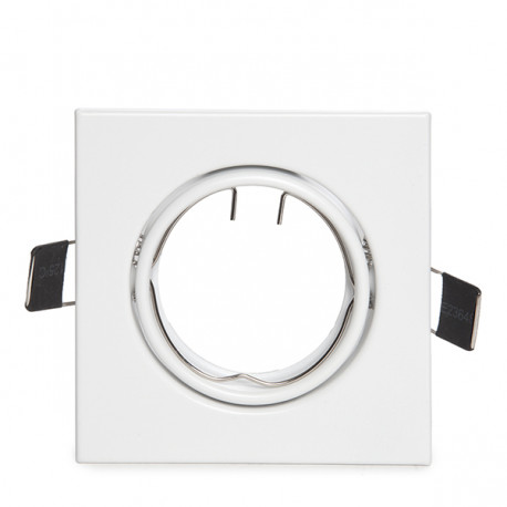 White Aluminium Square Tilting Downlight Trim 83/83mm