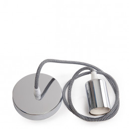 E27 Lampholder with Textile Cable 1000 x 0,75mm and Rosette
