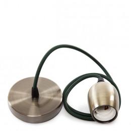 Pendel E27 con Cable 1000 x 0,75mm de Tela Rosetón