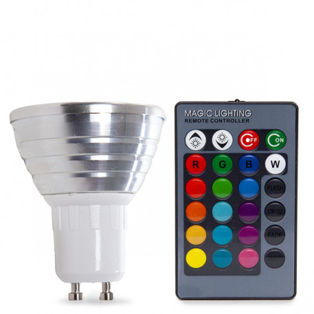 GU10 RGB LED Spot 3W with Remote Control