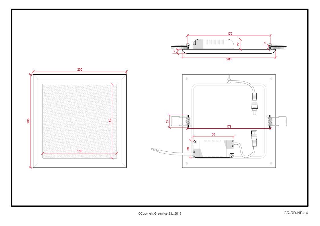 LED Slimline Downlight Square Style 200 X 200Mm 18W 1450Lm 30 000H