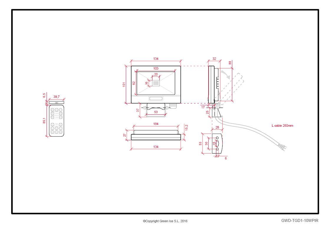 Projecteur d 39 ext rieur led 10 w 850 lm avec d tecteur de - Detecteur de mouvement a distance ...